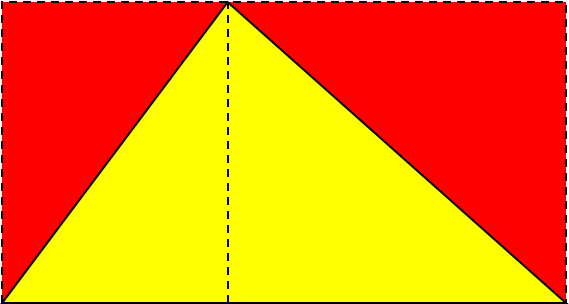Yellow triangle inscribed in rectangle