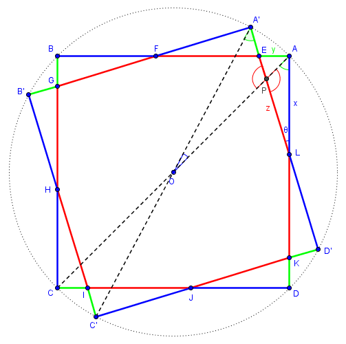 Rotated squares in circle